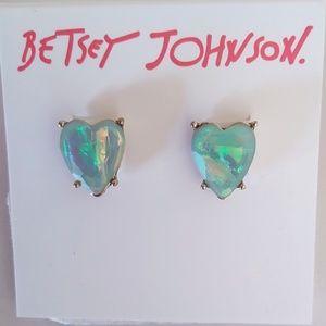 Betsey Johnson New Opal-like Heart Earrings